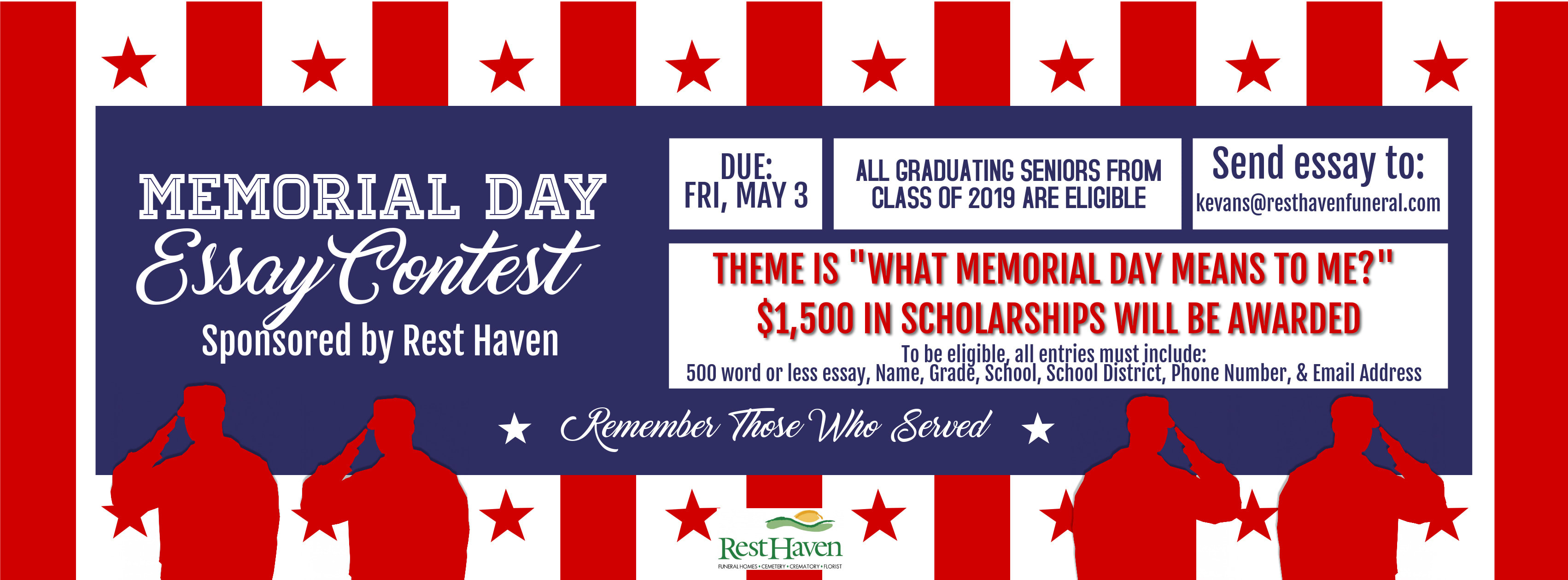 memorial day  essay contest  rest haven funeral home   rockwall tx open to all graduating high school seniors from the class of  please  share with all high school seniors that might be interested