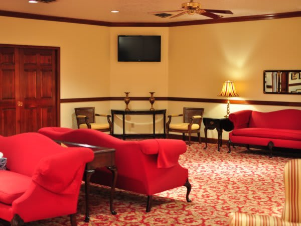 Parlor at another angle with the view of a 36'' Television screen to view slide shows.