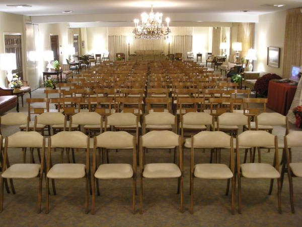 Chapel with chairs for service