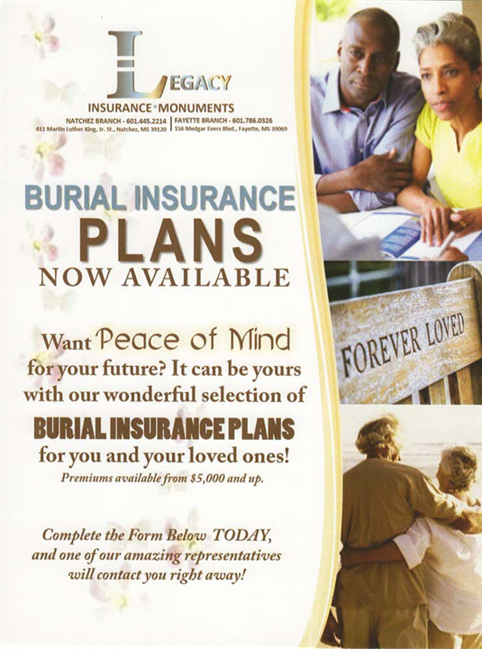 Now Offering Burial Insurance