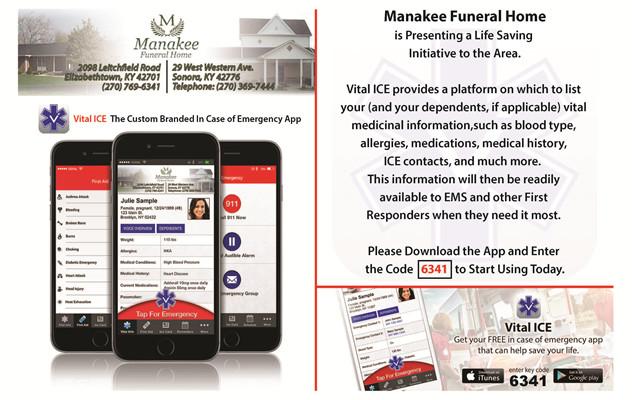 Vital ICE   Manakee Funeral Home - Elizabethtown, KY