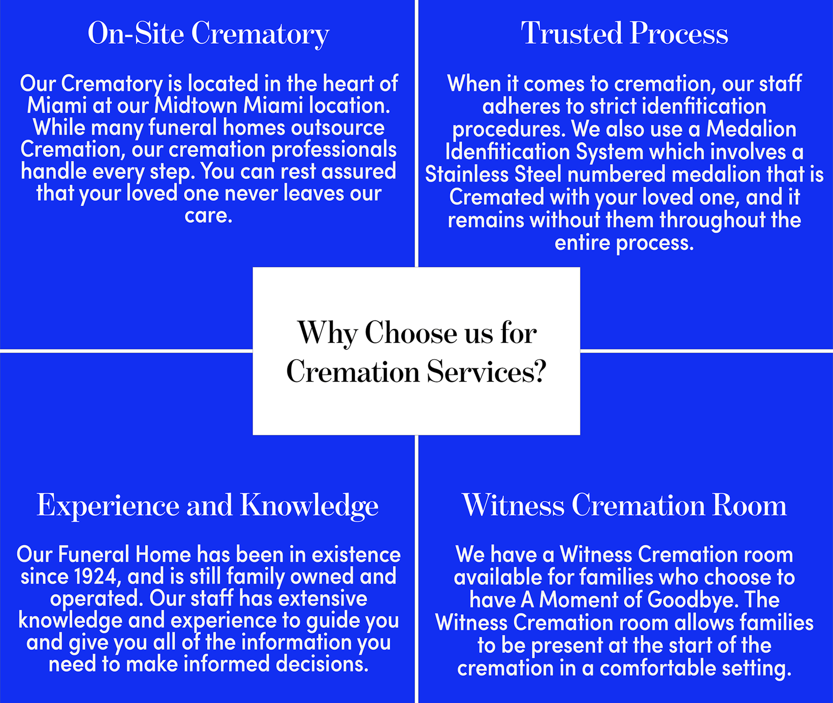 Why choose us for Cremation Services in Miami, FL