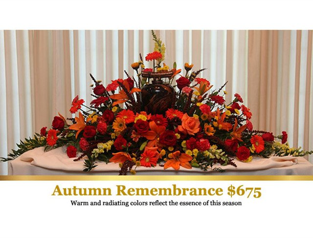 Fall and Autumn inspired Sympathy Flowers, Funeral Flowers, Cremation Flowers in Mentor, Willoughby, Painesville, Eastlake, OH Ohio