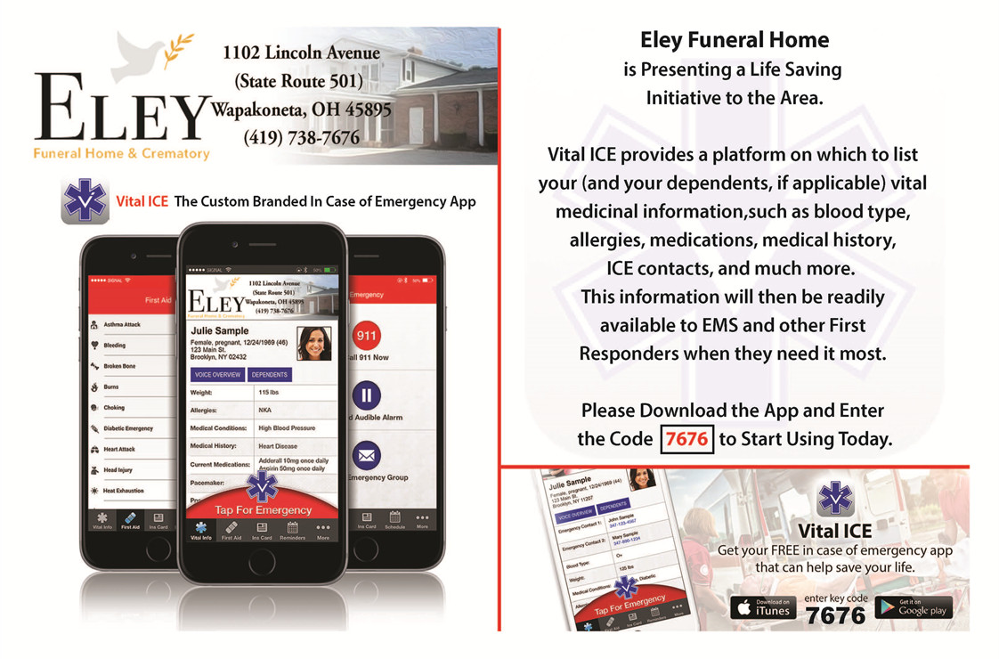 Eley Funeral Home & Crematory Vital Ice App advertisement