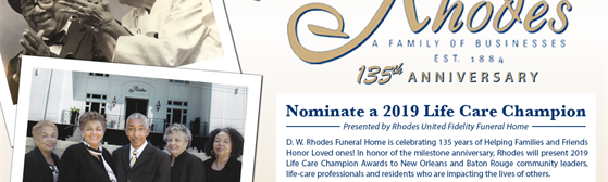 Life Care Award Nominations | Rhodes United Fidelity Funeral Home