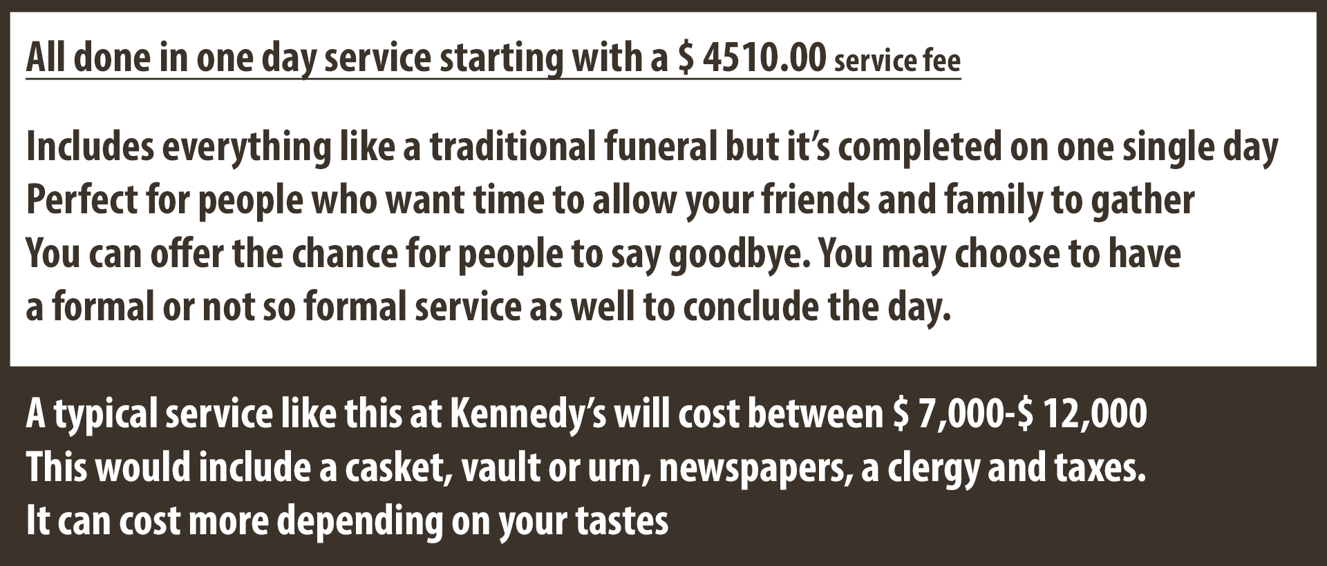 A funeral home in Essex providing funeral and basic cremation services.