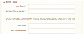 Online At-Need Form