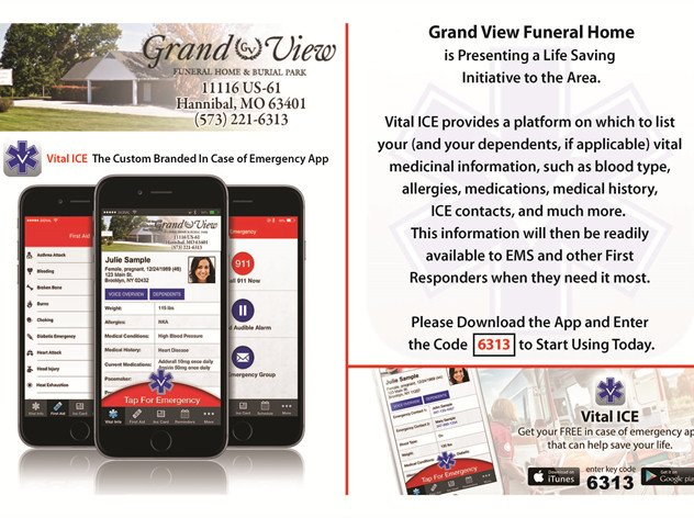 Vital ICE | Grand View Funeral Home & Burial Park - Hannibal, MO