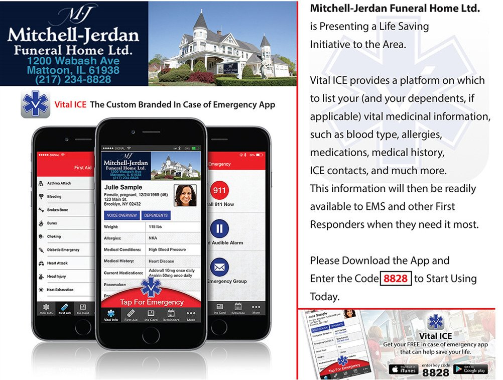 Mitchell Jerdan Funeral Home Vital Ice Ad Banner