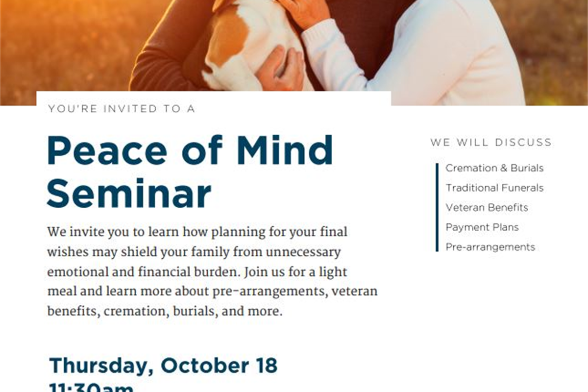 Peace Of Mind Seminar Pederson Funeral Home Rockford Mi
