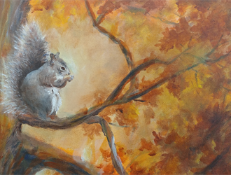 Noreen Powell's painting of a squirrel in a tree