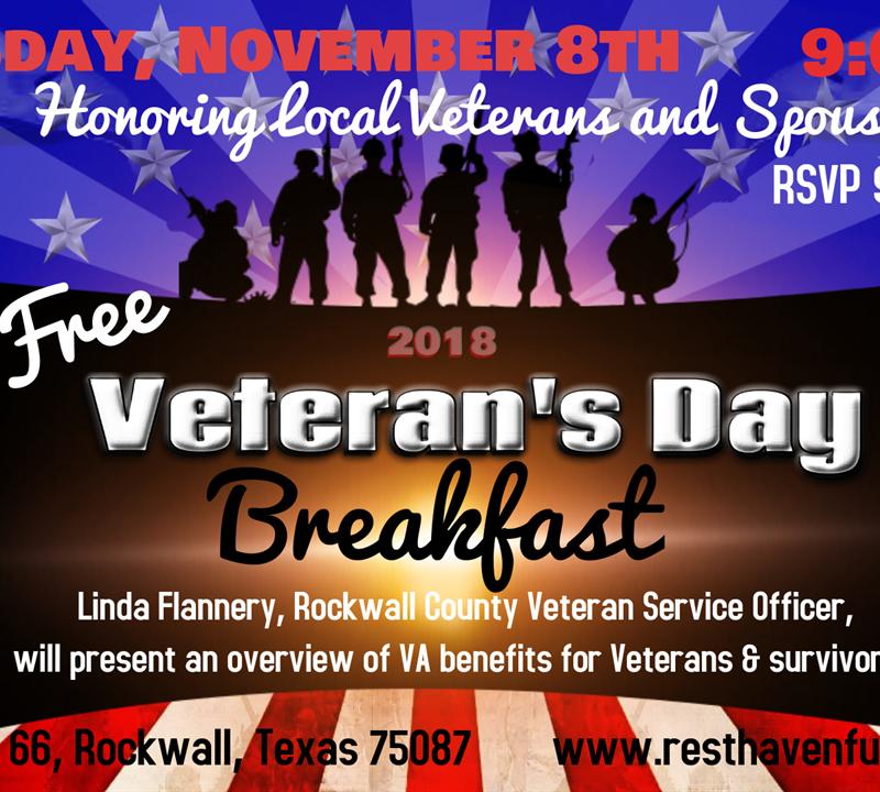 Free Veteran's Day Breakfast for Veterans and Spouses